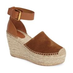Women's Marc Fisher Ltd Aaron Platform Wedge Espadrille ($170) ❤ liked on Polyvore featuring shoes, sandals, cognac suede, platform sandals, wedge sandals, wedge heel sandals, braided sandals and ankle wrap sandals