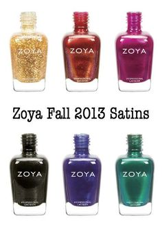 Zoya Fall 2013 Satin Collection: a gold flake top coat, coppery shimmer, fuchsia, dark grey metallic, grape shimmer, and a mermaid emerald! See them all!