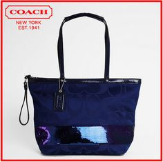 11.  Coach Signature Stripe Sequins Sateen Tote. Starting at $90 on Tophatter.com!