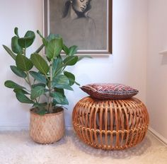 Vintage Wicker / Rattan Ottoman Designed In The 1950s By Franco Albini.  This Design Is Often Referred To As A U0027lobster Potu0027 Because Of Its  Resemblance To ...