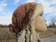 Rose Floral Printed  Slouchy Beanie Bohemian Style Clothes by Vacationhouse A1459
