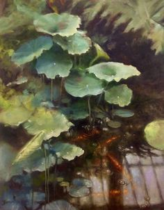 Lilies at Kew 1 - oil on canvas by Claire Frances Smith. Art Academy East Gallery NR19 1TS