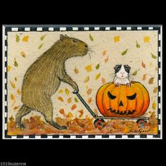 LIMITED ED ACEO GUINEA PIG CAPYBARA HALLOWEEN PAINTING PRINT BY SUZANNE LE GOOD #SUZANNELEGOOD #LIMITEDEDITIONMOUNTEDACEOPRINT