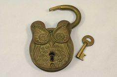 Vintage Antique Brass Padlock with Key Unique Owl Lock
