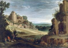 ポール・ブリル (Paul Bril)「A Landscape with a Hunting party and Roman ruins」