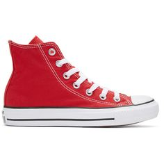 Converse Red Classic Chuck Taylor All Star OX High-Top Sneakers (530 ARS) ❤ liked on Polyvore featuring shoes, sneakers, red, converse high tops, red hi top sneakers, red trainers, converse sneakers and rubber toe sneakers