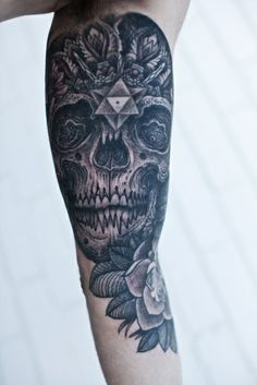 Awesome Skull Sleeve Tattoo  http://tattooideas123.co.uk/wp-content/uploads/2014/01/Awesome-Skull-Sleeve-Tattoo.jpg http://tattooideas123.co.uk/awesome-skull-sleeve-tattoo/ #Blacktattoos, #Sleevetattoos