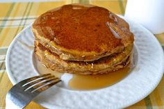 Healthy Whole Wheat Pumpkin Pancakes | These are cakey and moist, seem a little thick when you put them on the griddle, just spread out the batter, I wouldn't recommend thinning it out to the consistency of normal pancake batter.