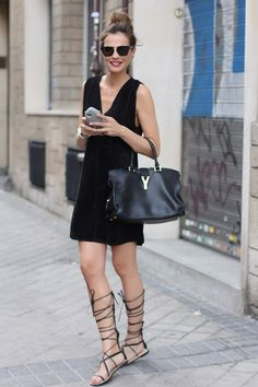 lace up sandals and all black outfit