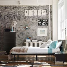 painted brick wall! I want that bed