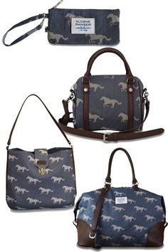 Tab but use a big button or a snap. Blue and grey horse print handbags by Sloane Ranger Equestrian Boots, Equestrian Outfits, Equestrian Style, Equestrian Fashion, Horse Fashion, Riding Hats, Horse Riding, Riding Helmets, Riding Clothes