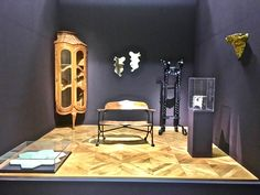 Gaudi at Musee d'Orsay Paris. old collection from Kiki and Pedro Uhart. Corner glass cabinet;Casa Batllo. 232 x 82 x 63cm - Oak - Mirrors (two pieces) wood and cut mirror -Casa Mila. Flower stand -Palau Güell. 175 x 68 x 46cm - Wrought Iron Console. Casa Mila. 31 x 43 x 22cm - Wood, gold leaf and terracotta  Jardiniere. Casa Batllo. 21 x 21x 19cm - Collage of bits of pottery and broken glass on ciment. Bench designed by Gaudi Colonia Güell Crypt. Gaudi wooden bench of olive tree and wrought…