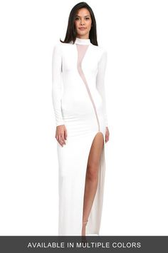 The Swirl Slit Front Long Dress by Savee Couture at CoutureCandy.com