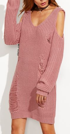 Pink V Neck Cold Shoulder Ripped Sweater Dress.