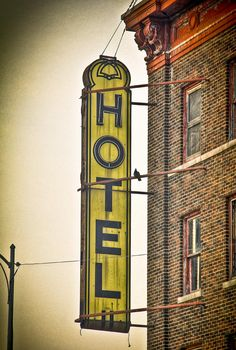 Old Detroit Hotel Sign Photograph - Old Detroit Hotel Sign Fine Art Print
