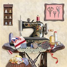 'Antique Sewing Room - Cream' ~ Rosiland Solomon
