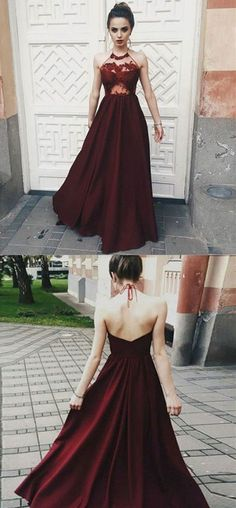 Fantastic Red Halter Burgundy Top Spaghetti Neck Tie V Back Prom Dress, M188 #Red #Halter #Burgundy #Spaghetti #Vback