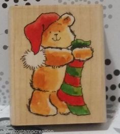 I love Christmas stamps! ALL-YOURS-3546H-Holiday-Bear-Stocking-Margaret-Sherry-Penny-Black-Stamp-C128