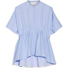 Victoria, Victoria Beckham Asymmetric cotton-poplin peplum shirt ($595) ❤ liked on Polyvore featuring tops