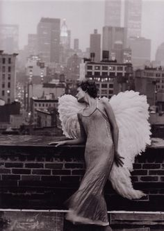 wings, a real photo...not too much added. Twin towers in the back. Elegant & emotional