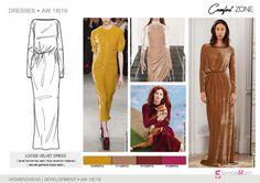 FW 208-19 Trend forecast: LOOSE VELVET DRESS, velvet like the new satin, delicate gathered drape details, development designs by 5forecaStore Fashion trend forecasting.