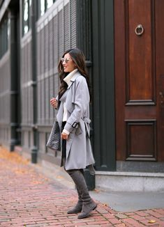 fall layers gray outfit over the knee boots extra petite