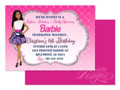 5X7 Princess Barbie Invitation - You Print - Barbie Invite   Barbie Party   Princess Party   Spa Party   Birthday Party   Fashion   Glam by LatishaHorton on Etsy https://www.etsy.com/listing/260750033/5x7-princess-barbie-invitation-you-print