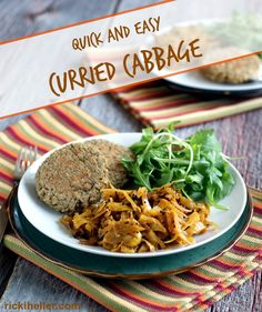 Gluten-free, sugar-free, vegan Quick Curried Cabbage Recipe @rickiheller
