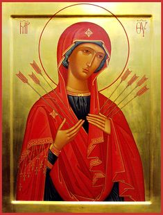 """Icon of the Mother of God """"of the Seven Arrows"""" - Orthodox Church in America"""