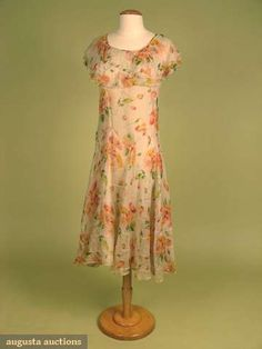 Augusta Auctions, May 2008 Vintage Fashion & Antique Textile Sale, Lot 708: Printed Floral On Ivory Silk Dress, 1930s