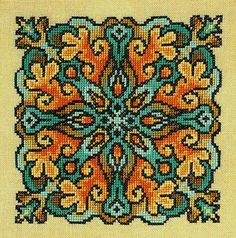 Lichen - cross stitch pattern by Ink Circles - A colourful mandala with a choice of colourways giving a stained glass effect. Cross Stitch Cushion, Cross Stitch Art, Cross Stitch Flowers, Cross Stitch Designs, Cross Stitching, Cross Stitch Embroidery, Embroidery Patterns, Hand Embroidery, Cross Stitch Patterns