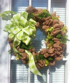 Spring and Summer Natural Burlap Wreath. $60.00, via Etsy.