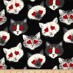 Alexander Henry Love, Luck and Liberty Lovestruck Black from @fabricdotcom  Designed by the De Leon Design Group for Alexander Henry, this fabric is perfect for quilting, apparel and home decor accents. Colors include red, white, lilac, peach, and mint.