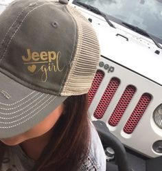 Jeep Girl Trucker Hat: Destroyed Style Mesh Back Hat by Serendipitybeyondtee on Etsy https://www.etsy.com/listing/277941418/jeep-girl-trucker-hat-destroyed-style