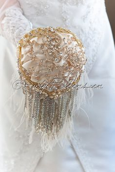 "Cascade Crystal gold, Ivory silver Wedding brooch bouquet. Deposit- ""1920's Foxtrot"" Bridal Silver Bouquet Ivory Gold Wedding broach bouquet"