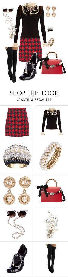 """""""Out Loud Elegance"""" by glamourgrammy ❤ liked on Polyvore featuring Gucci, Swarovski, Anne Klein, Chanel and Wedding Belles New York"""