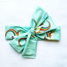 Unicorn Head Wrap // Retro // Soft // Headbands // Head wrap // Headwrap // Top Knot // Rainbow by becrushbows on Etsy
