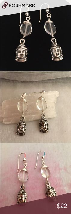 Crystal Buddha Yoga Earrings Beautiful Silver Wirewrapped Clear Quartz Gemstone with Antique Silver Buddha Charm dangles These Artisan made earrings feature Sterling Silver Earwires with Bead detail. Includes rubber safety backs Jewelry Earrings