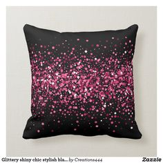 Glittery shiny chic stylish black pink sparkles throw pillow Pink Sparkles, Black Decor, Custom Pillows, Knitted Fabric, Create Your Own, Hot Pink, Throw Pillows, Chic, Stylish