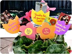 """Five gift cards for teacher - in kid-made stick holders. Use blank flowers or coordinate gift card with words (""""You're so sweet"""" = candy store gift card)"""