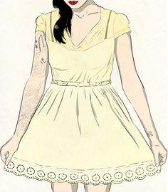 Pretty Tattoed Girl by Dmitry Kolodin, via Behance