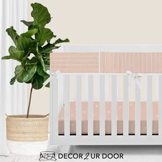 For our modern + minimal momma's out there. This ballet pink modern bumperless nursery look is complete with hand drawn stripes + coordinating Swiss cross pattern. We love how this look is modern and simple - leaving all the room for the baby to shine. Available in (9) color ways. Baby Girl Bedding Sets, Custom Baby Bedding, Crib Bedding Sets, Baby Crib, Nursery Bedding, Woodland Baby Bedding, Crib Rail Cover, Pink Crib, Baby Sheets