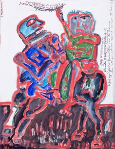 Eugeniusz Markowski: Postacie, 1990 r. gwasz, tempera (?), papier, 51,5 × 40 cm w świetle passe-partout
