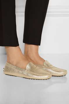 Tod's | Gommino metallic textured-leather loafers | NET-A-PORTER.COM