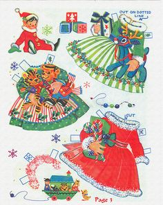 Little Miss Christmas and Holly Belle ✄ cut outs : 1965