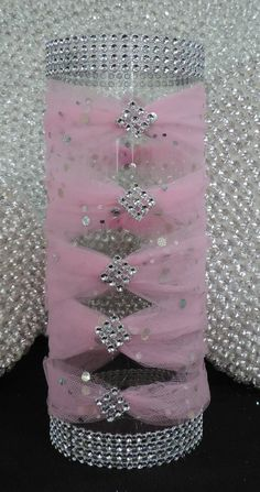 Pink Tulle Corset Cylinder Vase Wedding by LuxxCouture on Etsy