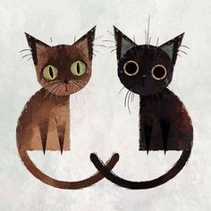 interesting simplified cat shapes and faces - - -