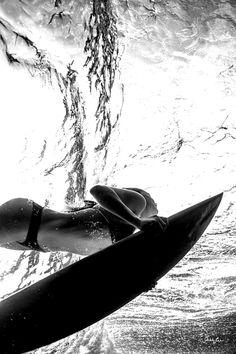 Surfing, Girl, Underwater