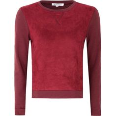Burgundy Sweater With Suedette Front ($47) ❤ liked on Polyvore featuring tops, sweaters, burgundy, red sweater, burgundy sweater, burgundy top, long sleeve sweaters and crew neck sweaters