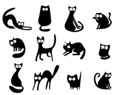 Illustration of Black cat silhouettes vector art, clipart and stock vectors. Cat Vector, Free Vector Art, Silhouettes, Black Cat Silhouette, Cat Drawing, Pyrography, Stone Art, I Love Cats, Rock Art